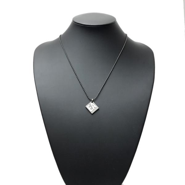 EMPORIO ARMANI ネックレス ロゴ プレート マットガンメタルブラック EGS2754060
