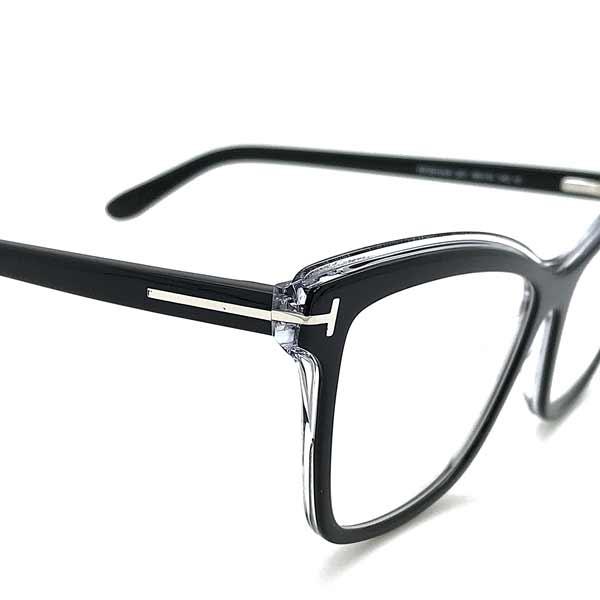 TOM FORD メガネフレーム ブラック×クリア 眼鏡 伊達メガネ用ブルーライトカットレンズ付 パソコン用PCメガネ TF-5619B-001