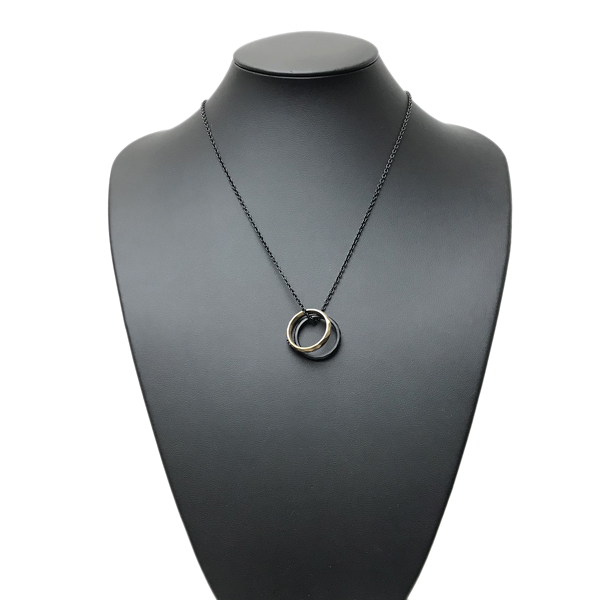 EMPORIO ARMANI ネックレス ダブルリング マットブラック×マットゴールド EGS2760001