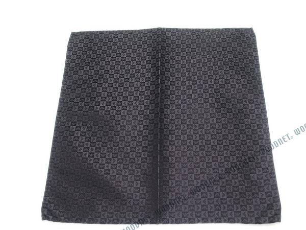 EMPORIO ARMANI ポケットチーフ 340033 イーグルロゴ柄 シルク  チャコールグレー