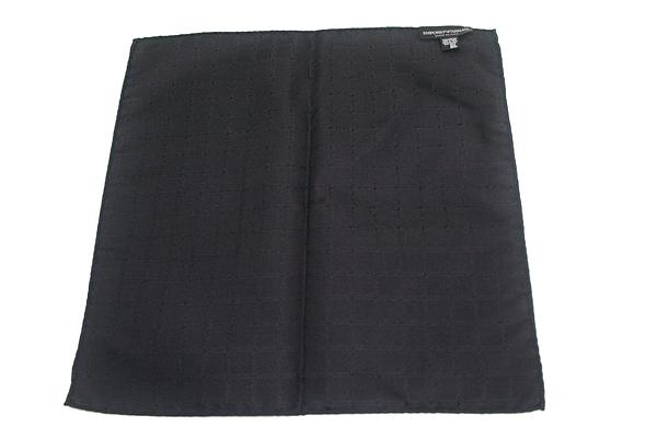 EMPORIO ARMANI ポケットチーフ 340033 ロゴ柄 シルク  ブラック