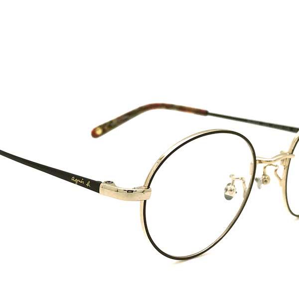 agnes b. メガネフレーム【レディース】 ライトゴールド×チョコレートブラウン メガネフレーム AB-50-0034-03