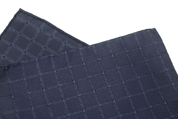 EMPORIO ARMANI ポケットチーフ 340033 ロゴ柄 シルク  ブルー