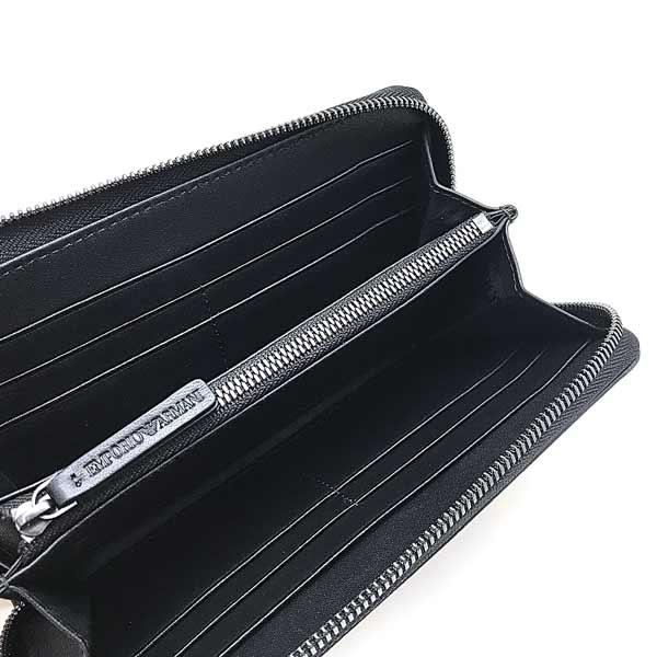 EMPORIO ARMANI 長財布 ジップアラウンド ロゴ型押しPVCレザー ブラック×グレー YEME49-YTO2J-84284