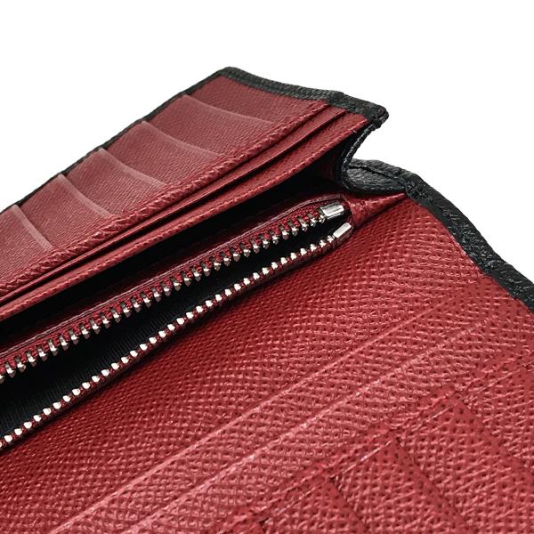 BVLGARI 2つ折り長財布 ブルガリ・ブルガリ マン 型押しレザー ブラック×ルビーレッド 288257