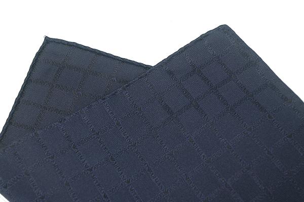 EMPORIO ARMANI ポケットチーフ 340033 ロゴ柄 シルク  マリンブルー