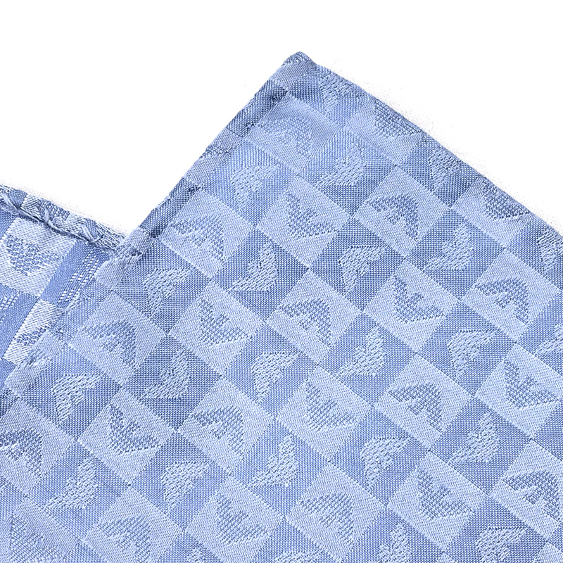 EMPORIO ARMANI ポケットチーフ 340033 イーグルロゴ柄 シルク  スカイブルー