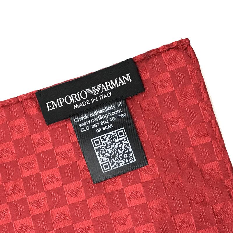 EMPORIO ARMANI ポケットチーフ 340033 イーグルロゴ柄 シルク  レッド