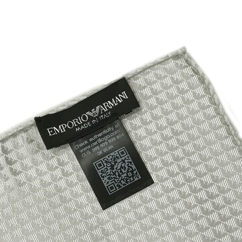 EMPORIO ARMANI ポケットチーフ 340033 イーグルロゴ柄 シルク  パールグレー