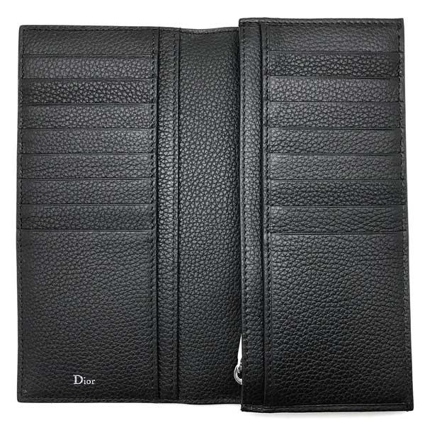 DIOR HOMME 財布 型押しレザー 2つ折り 小銭入れあり ブラック 2DSBC002-TAFH00N