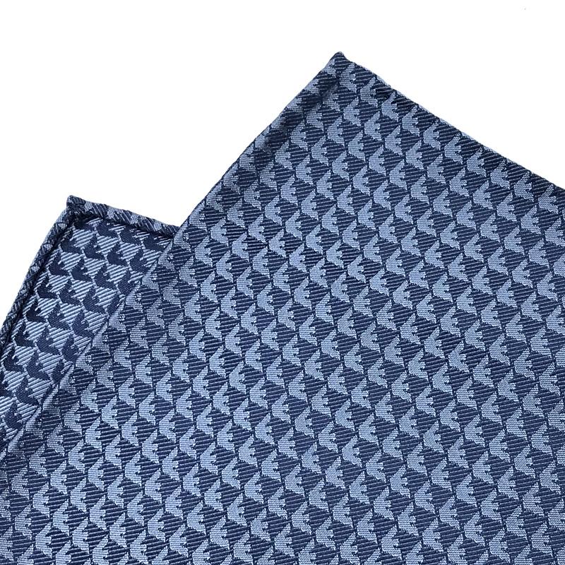 EMPORIO ARMANI ポケットチーフ 340033 イーグルロゴ柄 シルク  スチィールブルー