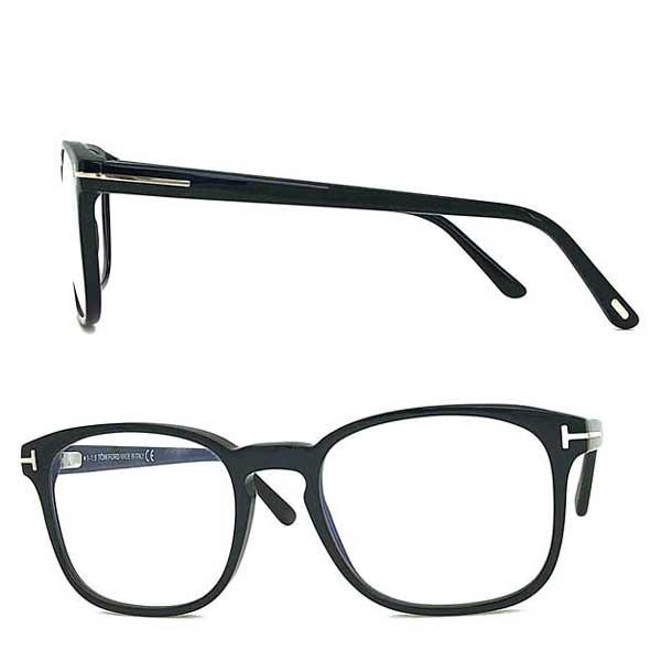 TOM FORD メガネフレーム ブラック 伊達メガネ用ブルーライトカットレンズ付 パソコン用PCメガネ 眼鏡 TF-5605B-001