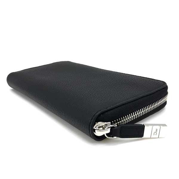 DIOR HOMME 長財布 型押しレザー ジップアラウンド 小銭入れあり ブラック 2DSBC011-TAFH00N