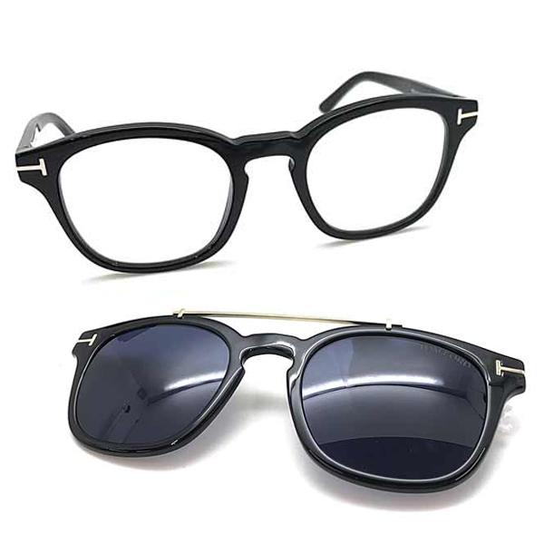 TOM FORD メガネフレーム ブラック 眼鏡×マグネット式サングラスセット 伊達メガネ用ブルーライトカットレンズ付 パソコン用PCメガネ TF-5532B-01V