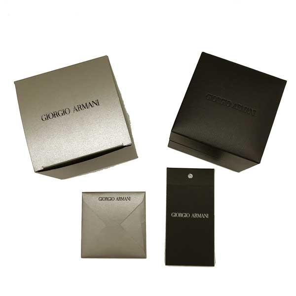 GIORGIO ARMANI カフスボタン ロゴ シルバー×ブラック 53L833-833-00020