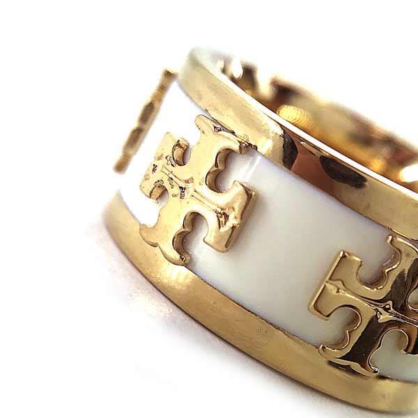 TORY BURCH リング・指輪【レディース】39582 ロゴ  ゴールド×アイボリー