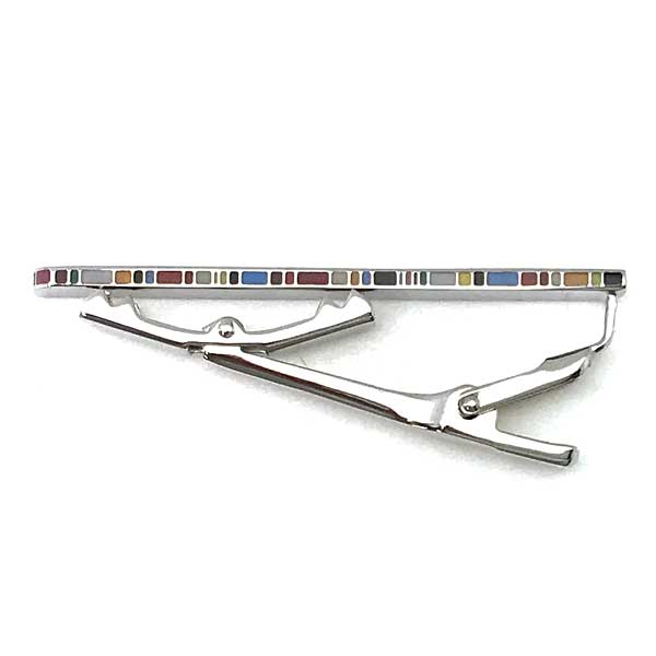 Paul Smith ネクタイピン シルバー×マルチストライプ M1ATPIN-ASEDGE92