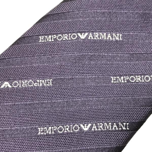 EMPORIO ARMANI  ネクタイ  ストライプロゴ柄 シルク バイオレット 340049-605-00090