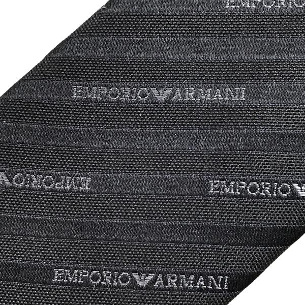 EMPORIO ARMANI  ネクタイ  ストライプロゴ柄 シルク ブラック 340049-605-00120