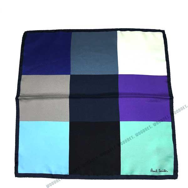 Paul Smith ポケットチーフ ハンカチ シルク マルチカラー ブルー M1A587E-AS0147
