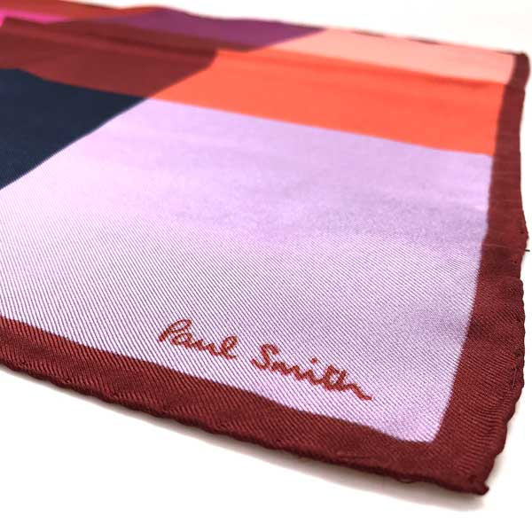 Paul Smith ポケットチーフ ハンカチ シルク マルチカラー レッド M1A587E-AS0125