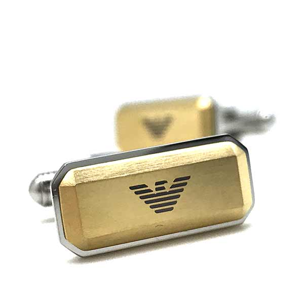 EMPORIO ARMANI カフスボタン マットゴールド×シルバー イーグルロゴ EGS2710040