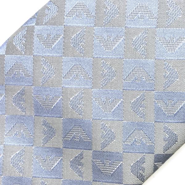 EMPORIO ARMANI  ネクタイ  イーグルロゴ柄 シルク ブルー 340049-612-19731