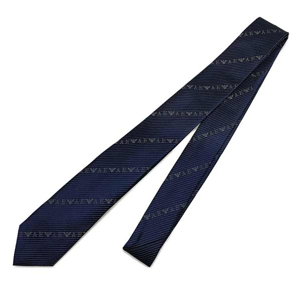 EMPORIO ARMANI ネクタイ ロゴ柄 シルク ナイトブルー 340049-618-00036