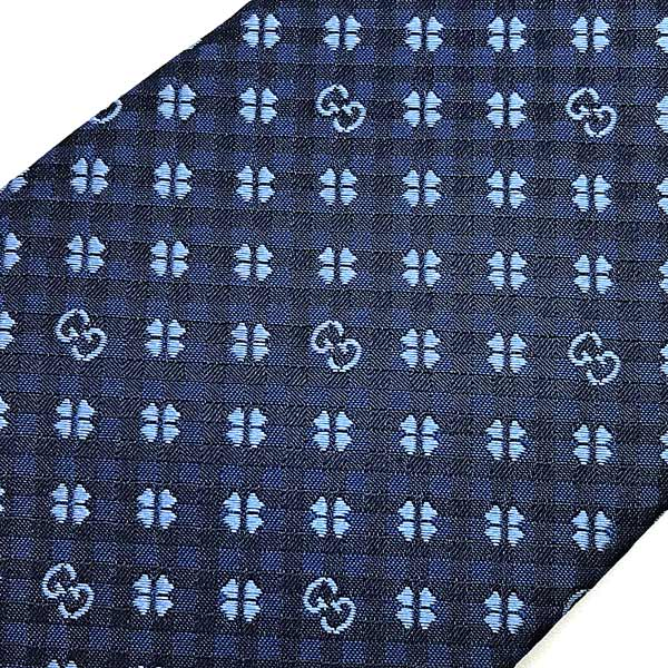 GUCCI ネクタイ シルク クローバー柄×GGロゴ  ブルー×ライトブルー 597126-4E002-4369