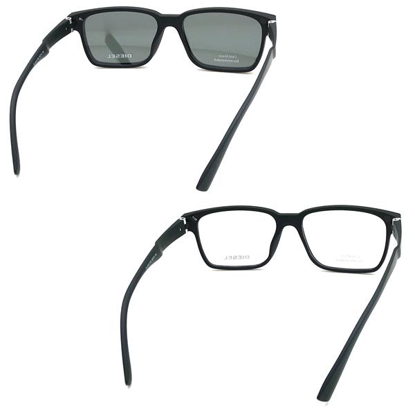 DIESEL マットブラック メガネフレーム 眼鏡 サングラスレンズセット DV-5410-005-05D
