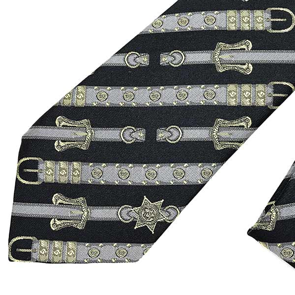VERSACE ネクタイ ウェスタンベルトプリント シルク ブラック ICR7001-A233331-A7008