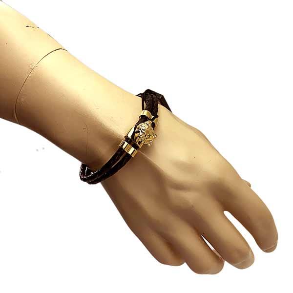 VERSACE ブレスレット ブラック×ゴールド メドゥーサ ロゴ DG05579-DMTN-D41O
