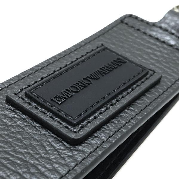 EMPORIO ARMANI  キーホルダー レザー 大きめ ブラック Y4R329-Y076E-80001