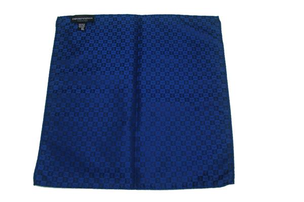 EMPORIO ARMANI ポケットチーフ 340033 イーグルロゴ柄 シルク  ブルー