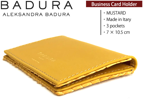 BADURA カードケース 名刺入れ マスタード カーフ×アナコンダ
