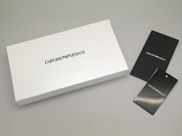 EMPORIO ARMANI 長財布 モノグラム柄 2つ折り 小銭入れあり グレー×ブラック Y4R060-YG91J-81072