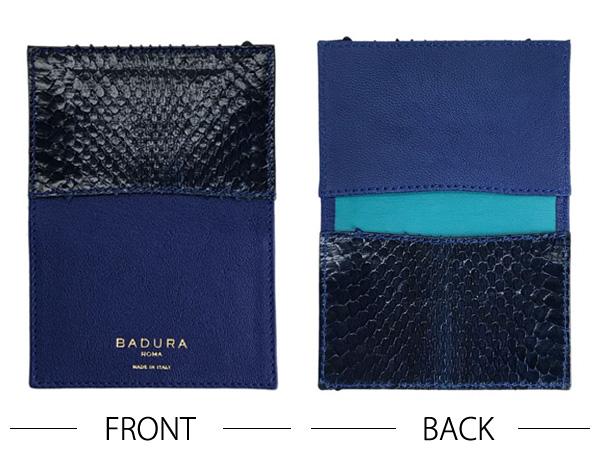 BADURA カードケース 名刺入れ ミッドナイトブルー バッファロー×ウォータースネーク