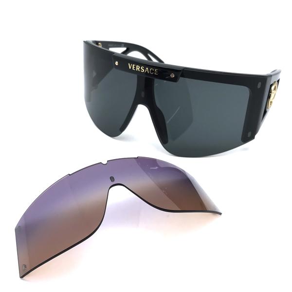 VERSACE サングラス ヴェルサーチ ブラック グラデーションパープル×ブラウン マグネット式レンズ 0VE-4393-GB1-87