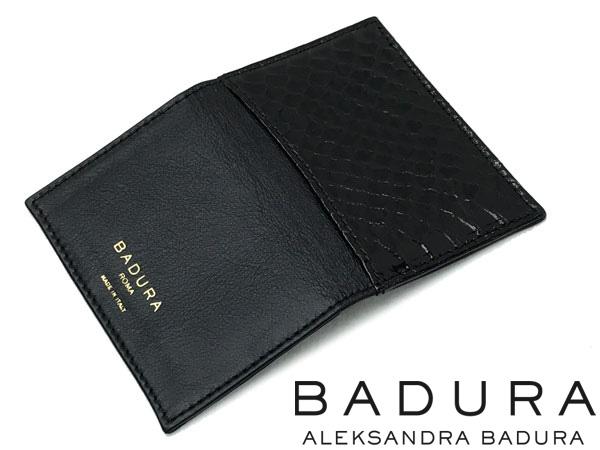 BADURA カードケース 名刺入れ ブラック ゴートスキン×ウォータースネーク