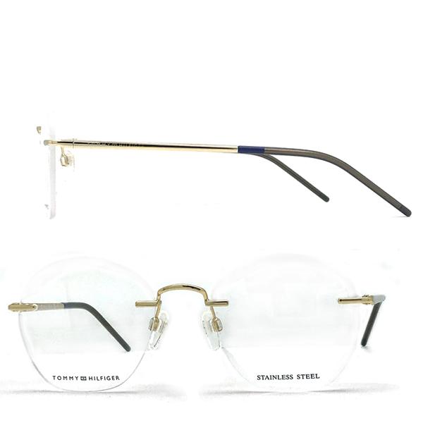 TOMMY HILFIGER シャンパンゴールド 縁無し メガネフレーム 眼鏡 2pt TO-1680-J5G