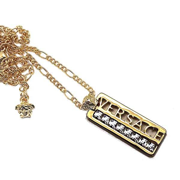 VERSACE ネックレス ゴールド ロゴプレート DG1F009-DJMT-D00OC