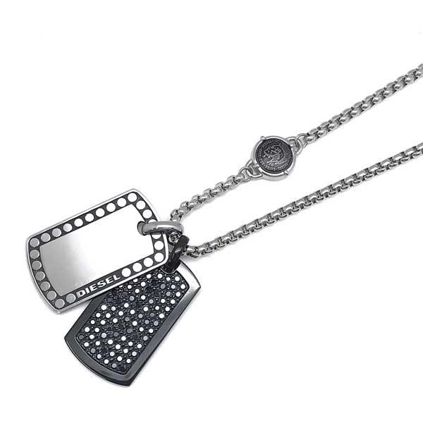 DIESEL ネックレス ダブルプレート シルバー×ブラック DX1169040