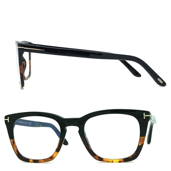 TOM FORD メガネフレーム ブラック×マーブルブラウン 眼鏡 伊達メガネ用 ブルーライトカットレンズ付 パソコン用PCメガネ TF-5736B-005