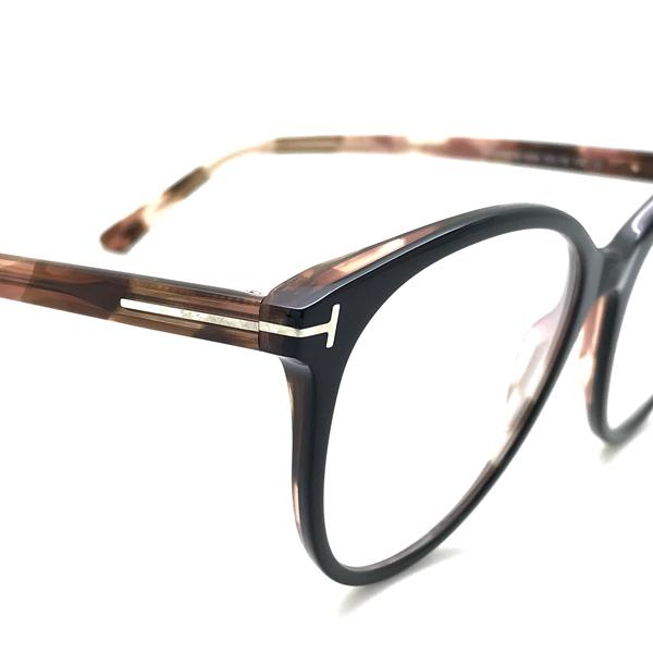 TOM FORD メガネフレーム ブラック×マーブルブラウン 眼鏡 伊達メガネ用 ブルーライトカットレンズ付 パソコン用PCメガネ TF-5742B-005