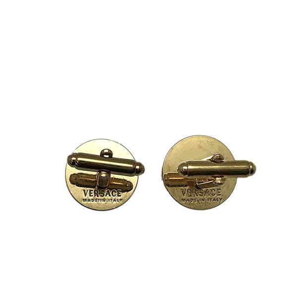 VERSACE カフスボタン メデューサ レジン カフリンク ブラック×ヴィンテージゴールド DG77287-DJMR-K41T