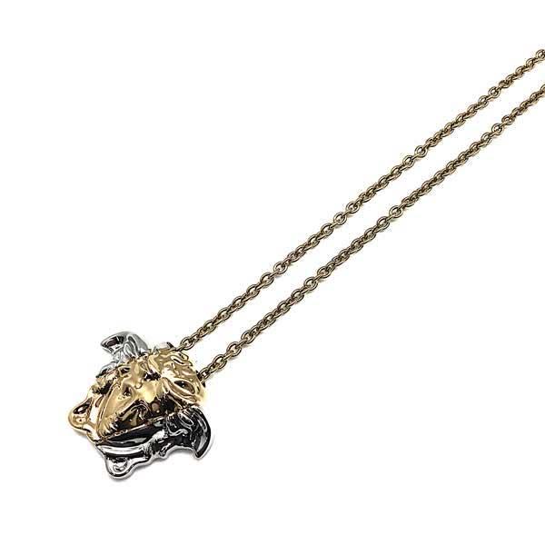 VERSACE ネックレス ゴールド×シルバー ロゴ パラッツォ ディア ペンダント DG1I024-DJMT-KVOP