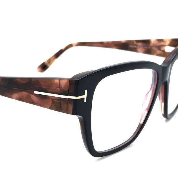 TOM FORD メガネフレーム ブラック×マーブルブラウン 眼鏡 伊達メガネ用 ブルーライトカットレンズ付 パソコン用PCメガネ TF-5745B-005