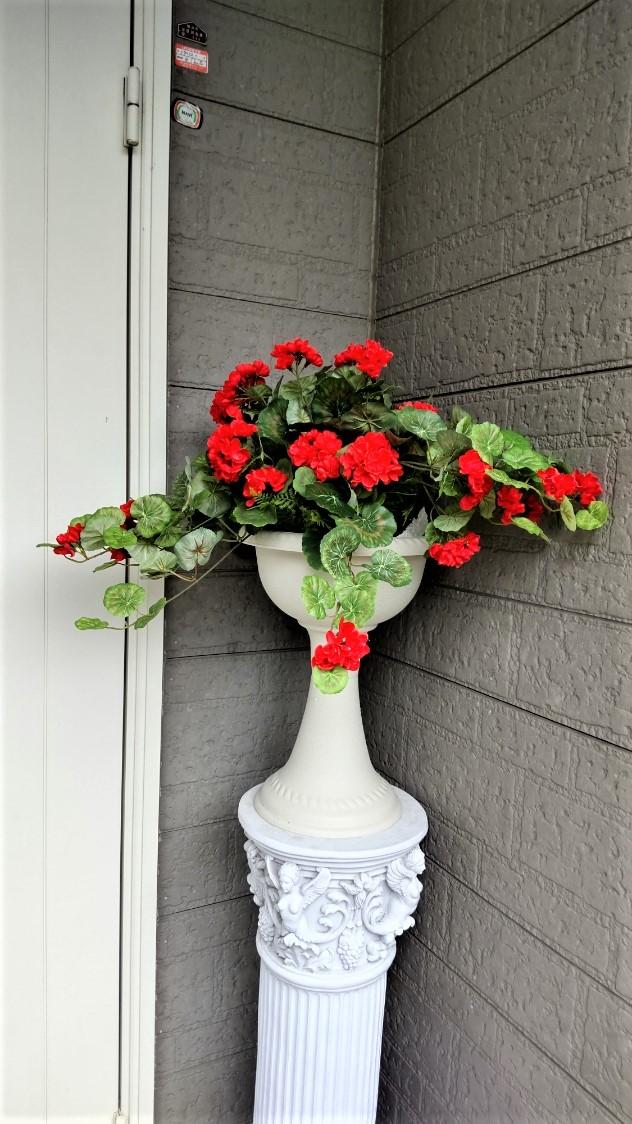 造花 ゼラニュウムプランター 屋外使用可  送料無料