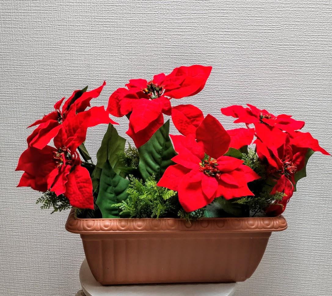 造花 ポインセチアプランター3点セット 送料無料 クリスマス装飾