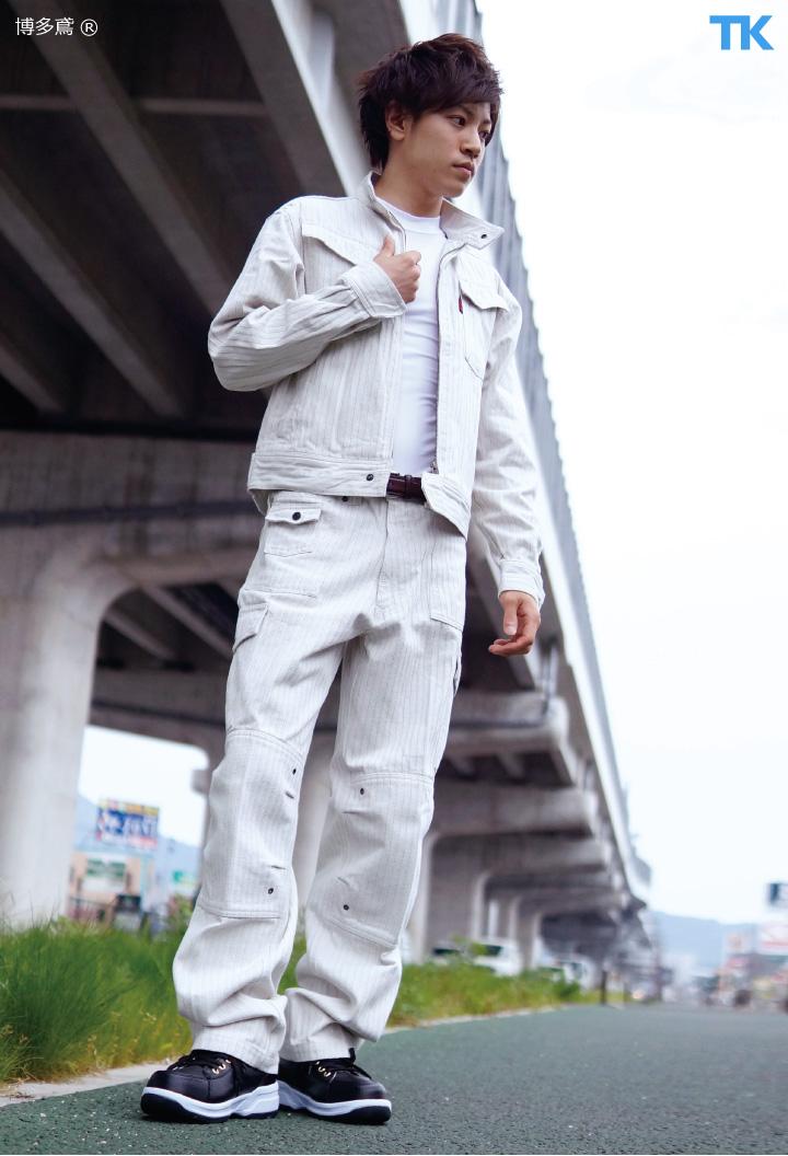 作業服 作業着 オリジナル ストライプ スリムブルゾン 【博多鳶】 作業ジャンパー ht-96-9941s